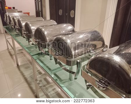 Closed Chafing dish for buffet party in hotel