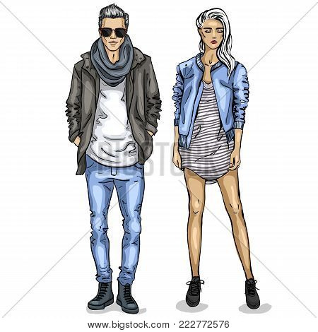 Vector woman and man fashion models, spring look, stylish outfit