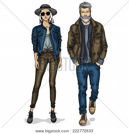 Vector woman and man models dressed in casual style, autumn look, stylish outfit