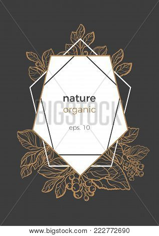 Modern template with gold and black design invitation. Symbol nature card of mate bouquet with art line branch, leaf, berry and flower. Trendy flyer with geometric of hexagonal. Vector illustration