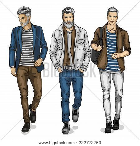 Vector man models dressed in jeans, sketch, outfit
