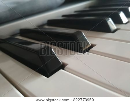 Piano keyboard, electronic musical synthesizer white and black keys