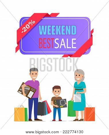 Weekend best sale poster with grandparents buying presents to grandson vector illustration promo banner isolated on white background, shopping time