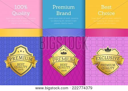 100 quality premium brand best choice reward golden labels sticker awards, vector illustration certificates posters covers isolated on color background