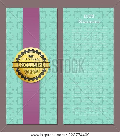 100 guarantee cover design exclusive high quality best choice stamp golden label reward award vector illustration emblem isolated on blue with squares