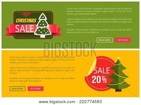 Hot prices Christmas sale buy now posters vector illustration with promotion text, red sticker and ribbon, Christmas tree with toys push-buttons