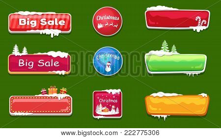 Set of winter theme glossy web push button covered by snow vector illustration online shopping signs isolated. Website label, download symbols
