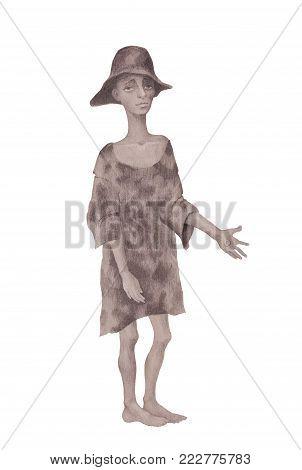 Homeless beggar child beggar dressed in rags drawn in pencil