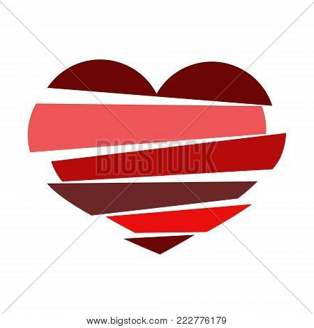 Stripes broken heart  in different tones of red on white background. Could be used as icon, sign, symbol, flag, sticker, badge. Vector icon. Stock clipart.