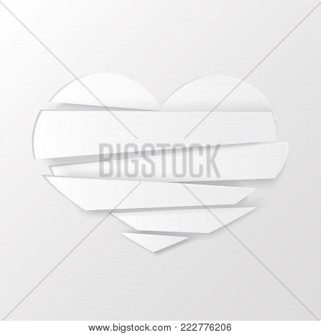 White Stripes broken heart on white background. Could be used as icon, sign, symbol, flag, sticker, badge. Vector icon. Stock clipart.