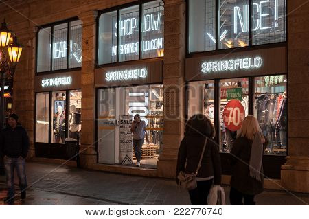 Budapest, HUNGARY - Jan 19 2018: Springfield shop front in Budapest. Grupo Cortefiel is one of Europe's leading fashion retailers. They brand are Springfield.
