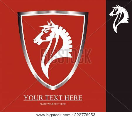 Elegance wild horse head icon. wild horse icon framed by metallic shield. White horse head over the red background. Suitable for your mascot, corporate identity, illustration for apparel. etc