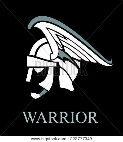 spartan, trojan, Warrior. warrior helmet,warrior head on black background