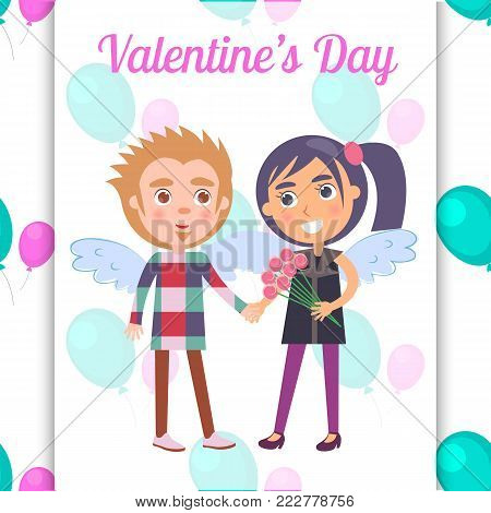 Valentines day poster with first date teenage couple in angel wings, boy presents flowers to girl, vector illustration greeting card isolated ballons