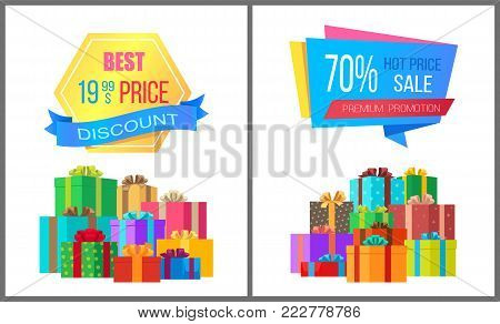 Best price 19.99 discount special exclusive offer sale posters with piles of gift boxes wrapped in decorative color paper, vector banners 70 off