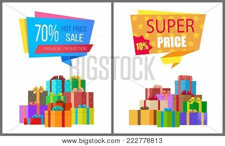 Premium promotion hot prices sale super special exclusive offer posters with piles of gift boxes wrapped in decorative color paper vector illustration