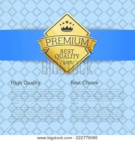 High quality best choice golden label guarantee sticker award, vector certificate emblem with stars and crown isolated on blue background with text