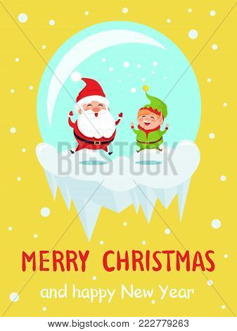 Merry Christmas and Happy New Year poster Santa and Elf in glass ball happily jumping on ice cliff, joyful leaps vector illustration on snowy backdrop