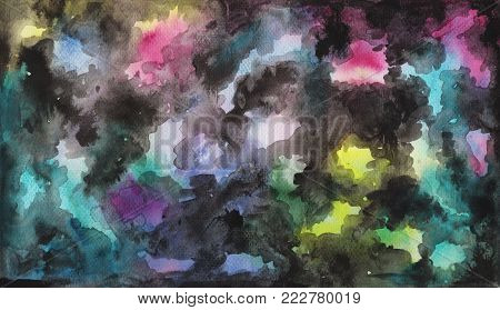 Abstract watercolor and ink hand-drawn background. Smooth color gradient with black ink clouds. Hand-painted watercolour background. Watercolor galaxy. Textured grungy background. Abstract painting