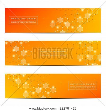 Technological and scientific banners with hexagonal molecule. Geometric abstract background. Science, technology or medical concept. Vector illustration