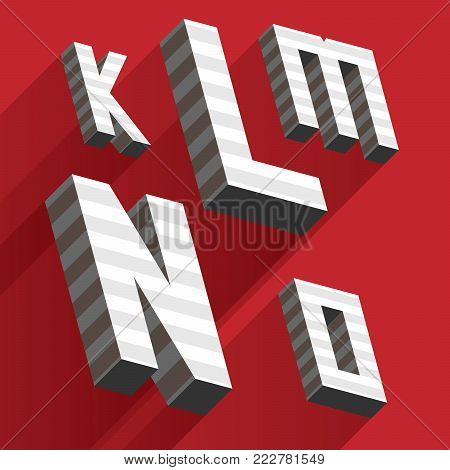 Isometric Letters K L M N O Drawn With Stripes And Fallen Shadows On Red Background. Grey Letters, G