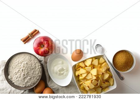 ingredients for baking Charlotte on white background