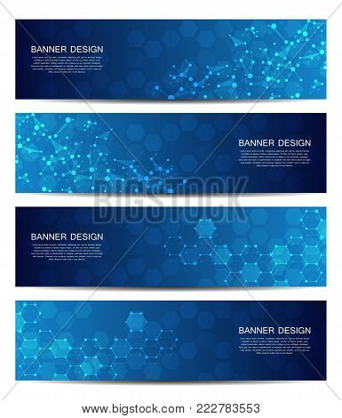 Science and technology banners. DNA molecule structure background. Scientific and technological concept. Vector illustration