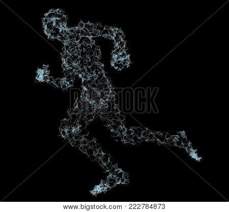 Running Man. Dots and lines with triangles. Network connection. 3d illustration