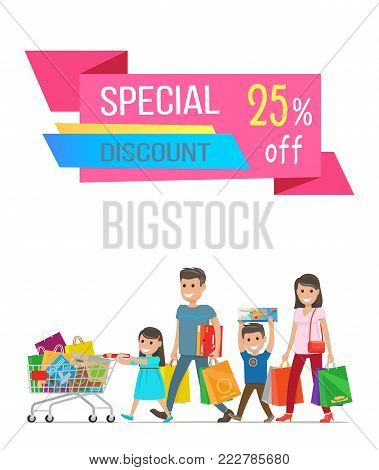 Special discount sale banner vector illustration with happy family that consist of mother, father, daughter and son carrying lot of purchases, text