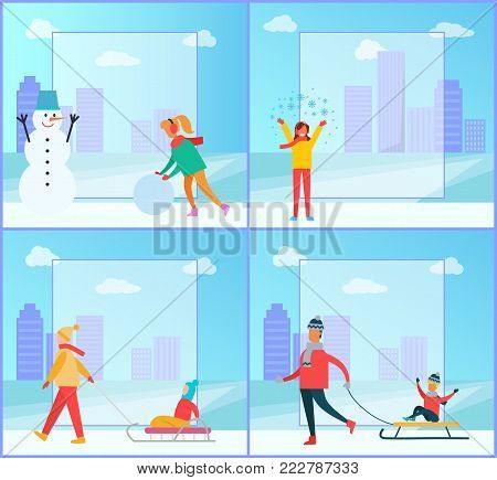 Snowman and woman wintertime collection, snowball and lady happy because of snowflakes, family and kids on sled, isolated on vector illustration