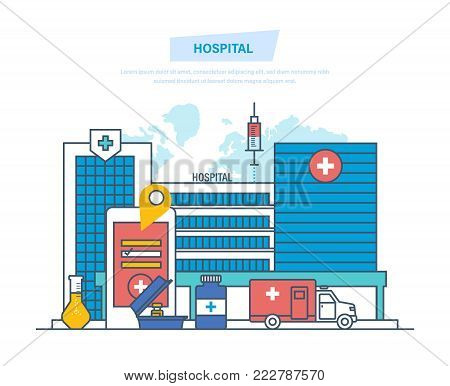 Hospital building, healthcare system, medical facility, safety, first aid, ambulance. Clinic exterior, medical architecture hospital, landscape on background city. Illustration thin line design.