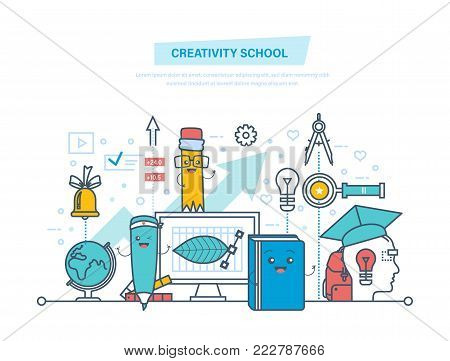 Creativity school. Creative thinking, creativity, smart education, modern technologies, tools of creativity. Training, distance learning, teaching knowledge education Illustration thin line design