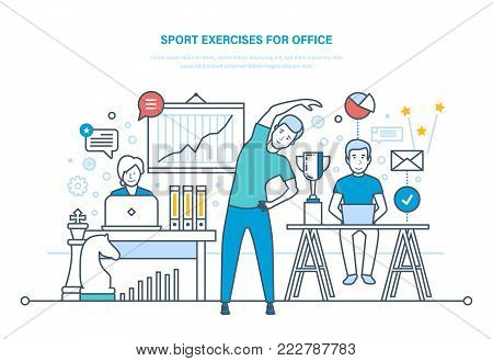 Sport exercises for office. Doing sports, training, healthy lifestyle athlete. Young office clerk does physical exercises, therapeutic gymnastics, incline to side. Illustration thin line design.