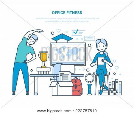 Office fitness. Doing sports exercises, training, healthy lifestyle athlete. Young office clerk does physical exercises, therapeutic gymnastics, incline to side. Illustration thin line design.