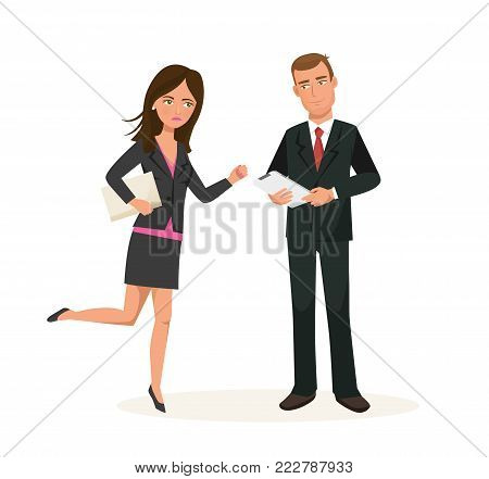 Business colleagues, cartoon character in office room. Office workers in business clothes. Employees of company are late for work. Dispute from questions about business, clients. Vector illustration.
