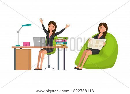 Options for rest, relaxation at work. Exercises next to work desk, rest, relaxation sit in chair read newspaper. Girl, businesswoman, office worker, relax raising with hands up. Vector illustration.