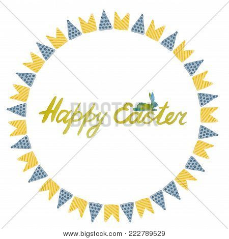 Beautiful postcard with a silhouette of a rabbit and checkbox and wishes of a happy easter painted with watercolor on a white background