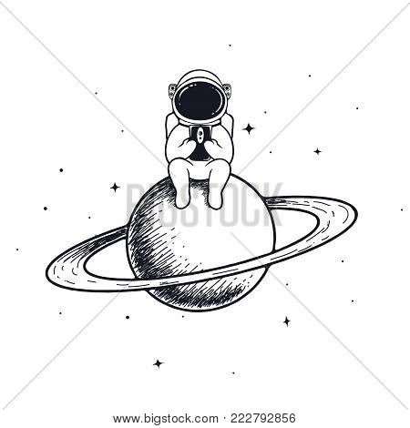 astronaut keeps mobile phone .Spaceman sits on Saturn and play with smartphone.Prints vector design isolated on white background