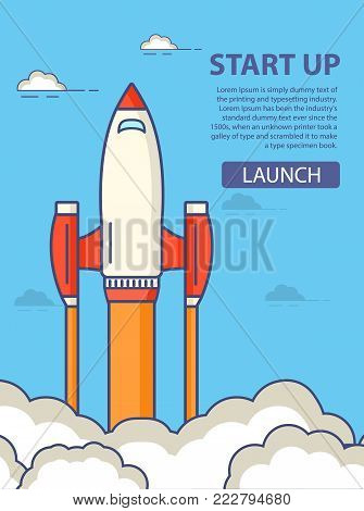Start up of business.Flight of a space rocket character cartoon.The spaceship starts. In flat style vector. An icon with start of the spaceship launch.A concept of design of a banner for the websites.