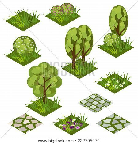 Garden or farm isometric tile set. Isolated isometric tiles with grass, flowers, bushes and trees to design garden landscape scene. Use in cartoon or game asset. Vector illustration