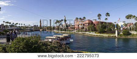 Orlando, Florida, Usa - November 3: Universal Blvd Hard Rock Cafe At Universal Studios And River.  T