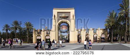 Orlando, Florida, Usa - November 3: Gate Entrance To Universal Studios.  Taken November 3, 2017 In F