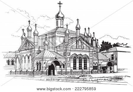 illustration of black ink on paper building of the Orthodox Church of St. Olga in Russia