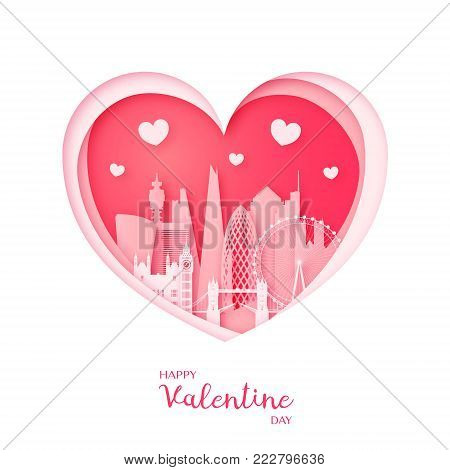 Valentines card. Paper cut heart and the city London. Happy Valentine day. Vector illustration.