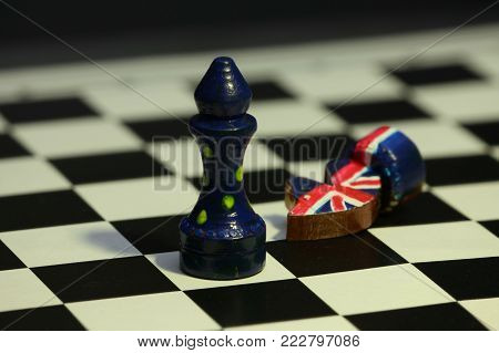 chess game minimal concept of confrontation of United Europe and Britain, end of Brexit