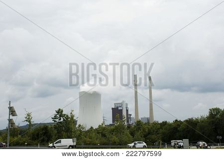 A Nuclear Power Plant Or Nuclear Power Station Of Stuttgart City For Bus On Traffic Road In Germany
