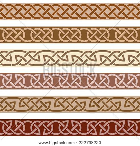 Set of decorative borders, celtic style ornament pattern with traditional celtic knots. Vector illustration