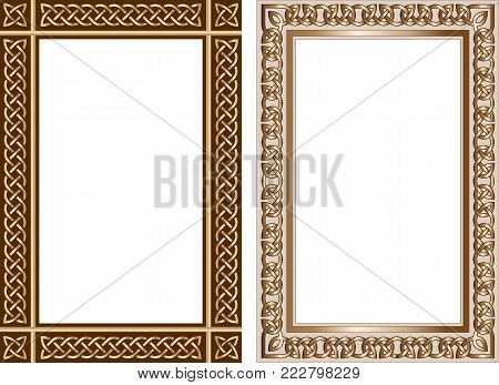 Set of decorative frames in traditional celtic style. Celtic knots, borders with celtic ornament. Vector illustration