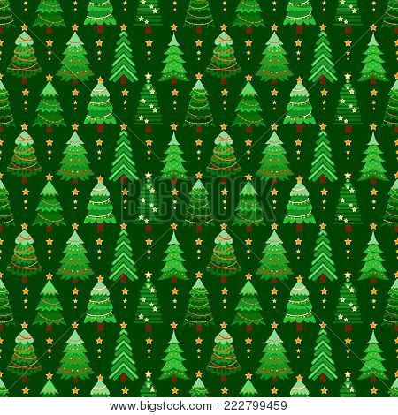 Seamless pattern with green fir-trees. Winter graphic background with christmas trees on dark green. Wrapping paper Christmas.