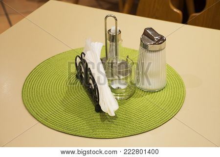 Dining Accessories For Eat On Table In Dining Room At Restaurant